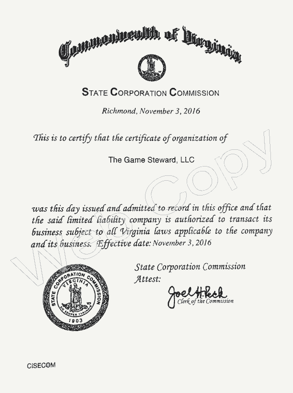 State Corporation Commission Business Certification – The Game Steward