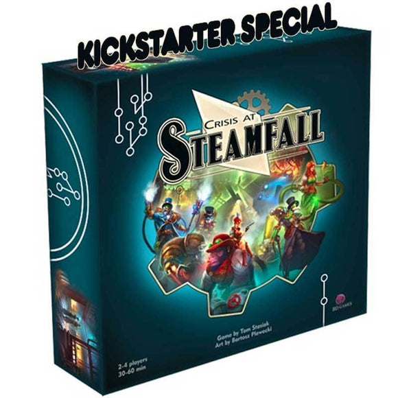 Crisis at Steamfall (Kickstarter Pre-Order Special) Board Game Geek, Kickstarter Games, Games, Kickstarter Board Games, Board Games, Beautiful Disaster Games, Crisis at Steamfall, The Games Steward, Action Point Allowance System, Area Movement Beautiful Disaster Games