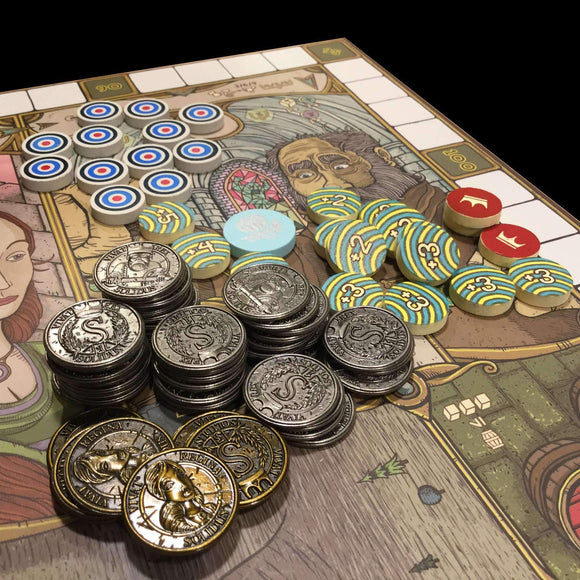 Feudum Metal Coins, Deluxe Seals, Beads & Markers Bundle (Kickstarter Special) Kickstarter Board Game Supplement Odd Bird Games