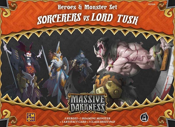 Massive Darkness: Sorcerers vs. Lord Tusk Expansion Board Game Geek, Games, Board Games Expansions, CMON Limited, Guillotine Games, Massive Darkness Heroes Monster Set – Sorcerers vs Lord Tusk, The Games Steward Kickstarter Edition Shop, Cooperative Play, Dice Rolling, Modular Board CMON Limited