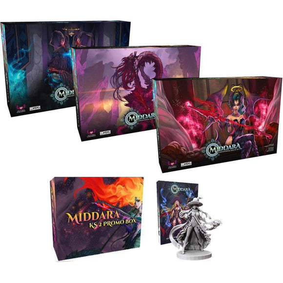 Middara: All Three Acts Pledge Bundle (Kickstarter Pre-Order Special) Board Game Geek, Kickstarter Games, Games, Kickstarter Board Games, Board Games, Succubus Publishing, Middara Unintentional Malum – Act 1, The Games Steward Kickstarter Edition Shop, Action Points, Cooperative Games Succubus Publishing