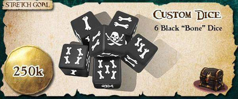 Rum & Bones - Custom Dice (Black) (Kickstarter Special) Kickstarter Board Game Accessory The Game Steward KS000121P