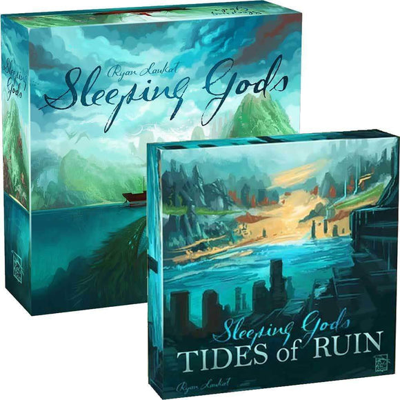 Sleeping Gods: Core Game plus Tides of Ruin Expansion Bundle (Kickstarter Pre-Order Special) Board Game Geek, Kickstarter Games, Games, Kickstarter Board Games, Board Games, Red Raven Games, Schwerkraft Verlag, Sleeping Gods, The Games Steward Kickstarter Edition Shop, Cooperative Games Red Raven Games