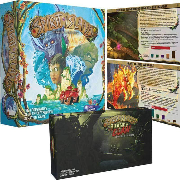 Spirit Island plus Branch & Claw Expansion Bundle plus Serpent Slumbering Beneath The Island & Heart of Wildfire Promo-Spirits Ding & Dent (Kickstarter Special) Kickstarter Board Game Greater Than Games (Fabled Nexus) 0798304339291 KS000634A