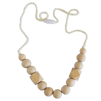Natural teething necklace for mom, safe teething necklace for baby to chew on, organic teething necklace, wood teething necklace.