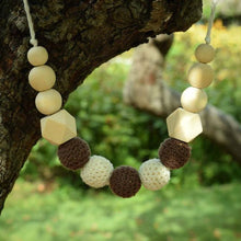 safe all natural teething necklace for mom and baby, wood teething jewelry