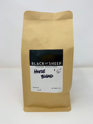 House Blend- Medium roast with great body and depth.  14oz. whole bean