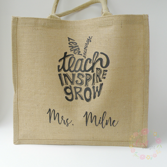 Burlap Tote - Teacher's Apple