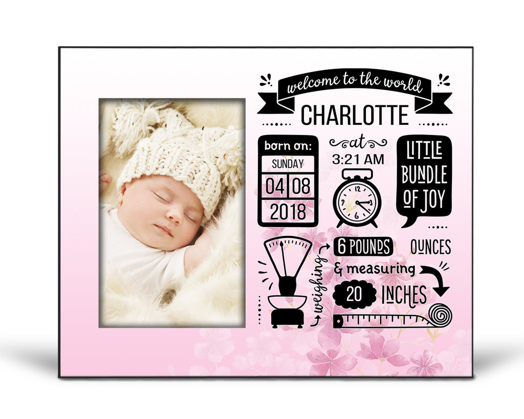 Baby Announcement Picture Frame - Gradiant Pink with Cherry Blossoms