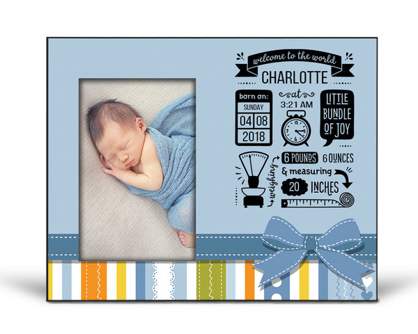 Baby Announcement Picture Frame - Blue Stripe