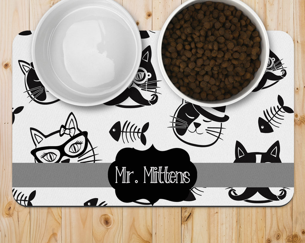 Pet Placemat - Black and White Cat Pattern
