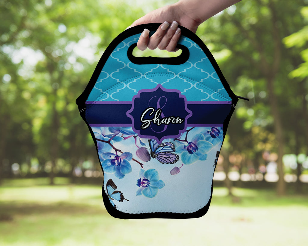 Neoprene Lunch Tote - Blue Flower Personalized