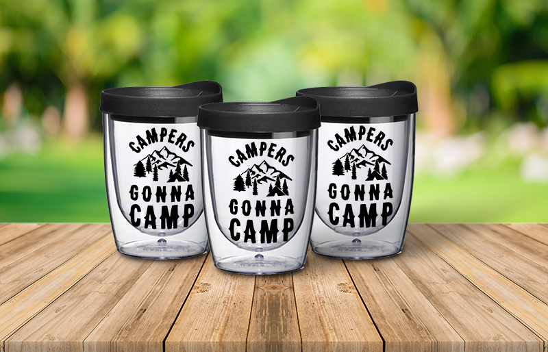 Acrylic Wine Tumblers - Campers gonna camp