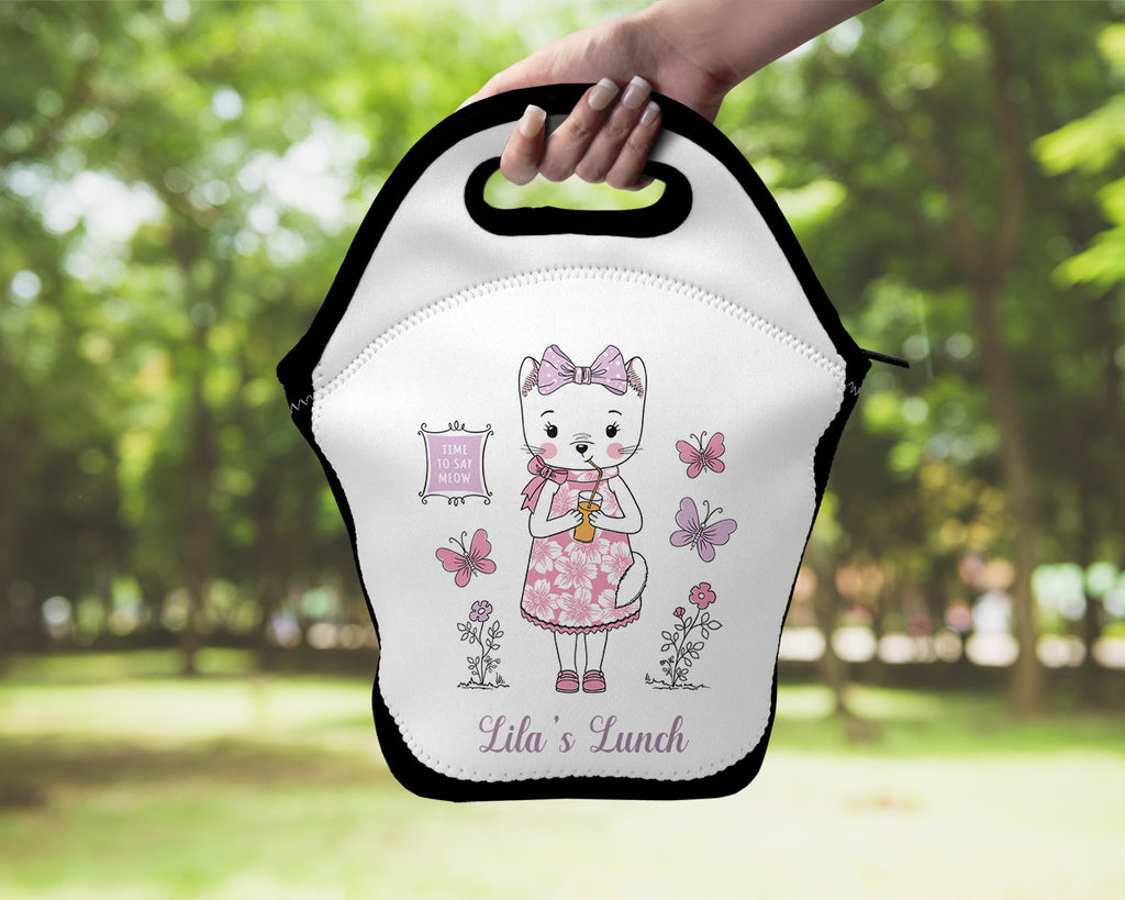 Neoprene Lunch Tote - Cartoon Kitty Cat Personalized