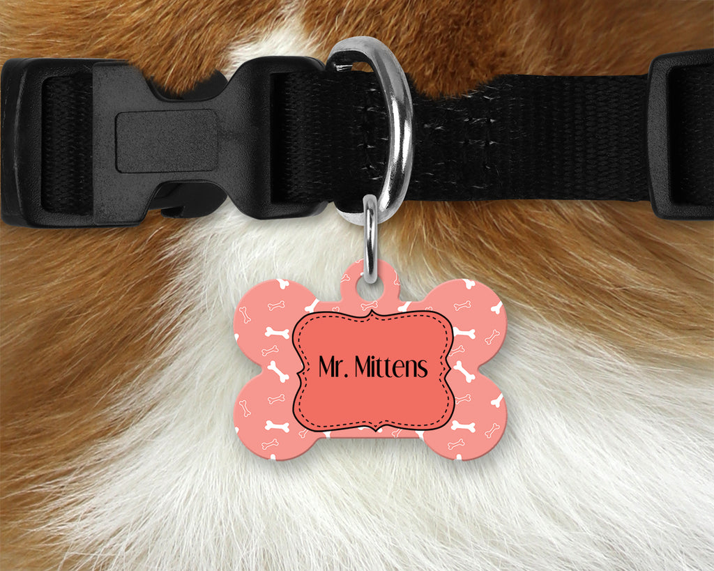 Printed Pet Tag - Coral Dog Bones