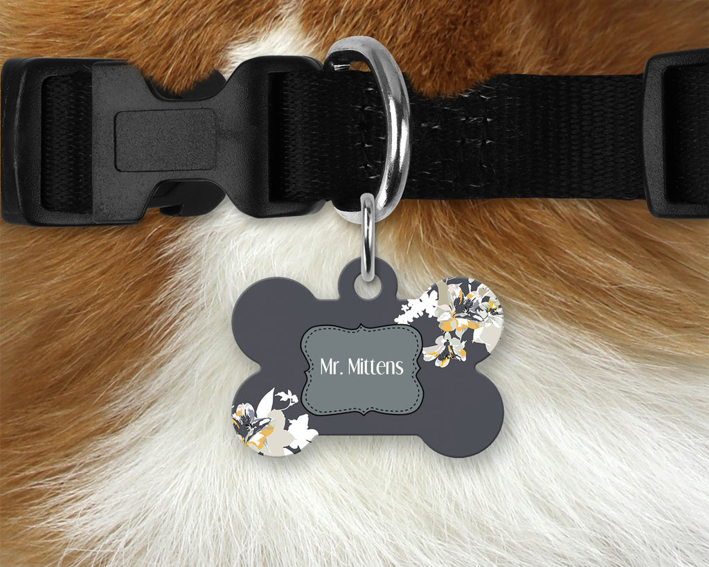 Printed Pet Tag - Grey Flowers