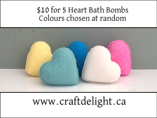 Heart Bath Bombs - Strawberry Fragrance - Set of 5