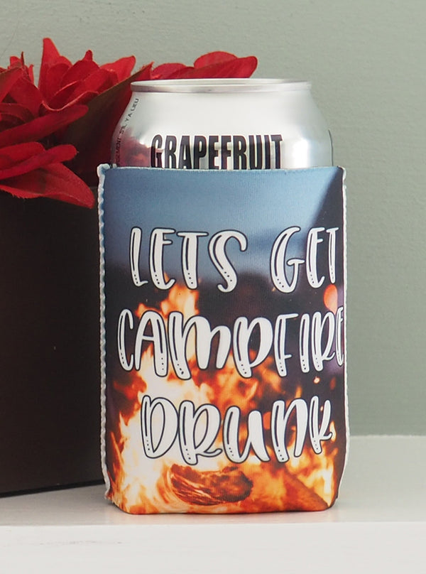 Camping Koozies - Let's get campfire drunk