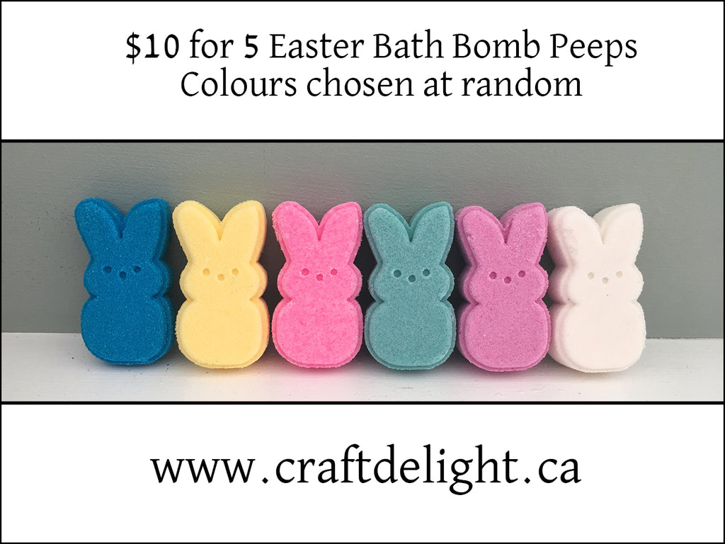 Easter Peep Bath Bombs - Strawberry Fragrance - Set of 5 different colours
