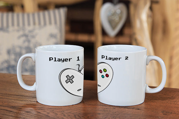 Player 1, Player 2 Mug Set - Dishwasher Safe Mugs