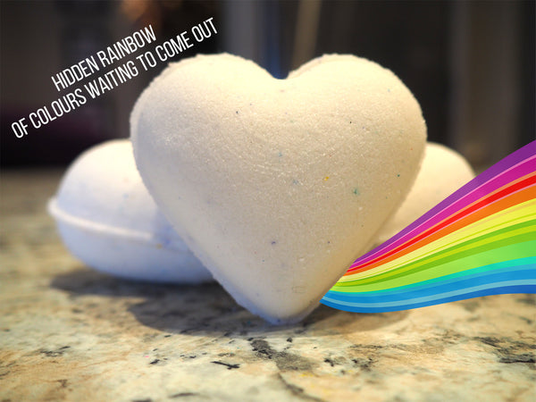 Rainbow Heart Bath Bombs - Island Nectar Fragrance