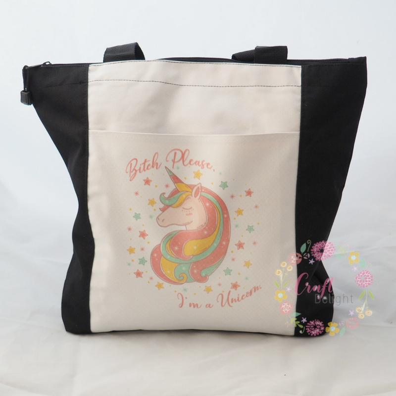 Zippered Tote - Unicorn Design