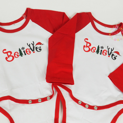 Believe - Red Raglan Onsie