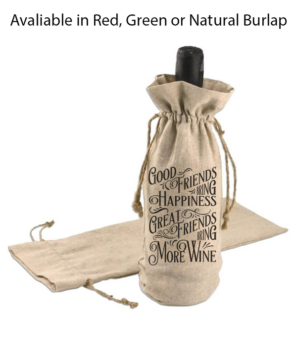 Canvas Wine Bag - Great Friends Bring More Wine