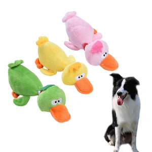Pet Puppy Dog Toys Plush Duck Shaped Sound Squeaker Chewing Toys