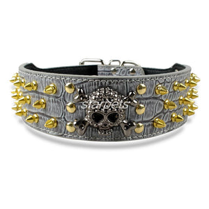 "2"" wide Gold Skull Spiked Studded Leather Dog Collars"