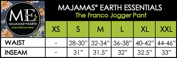 MAJAMAS EARTH SIZE CHART MEN The Franco Jogger Pant