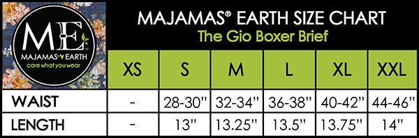MAJAMAS EARTH SIZE CHART MEN The Gio Boxer Brief