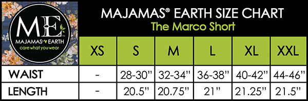 MAJAMAS EARTH SIZE CHART MEN The Marco Short
