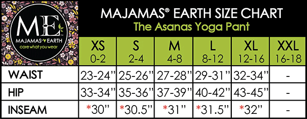 MAJAMAS EARTH SIZE CHART ESSENTIALS WOMEN BOTTOMS The Asanas Pant