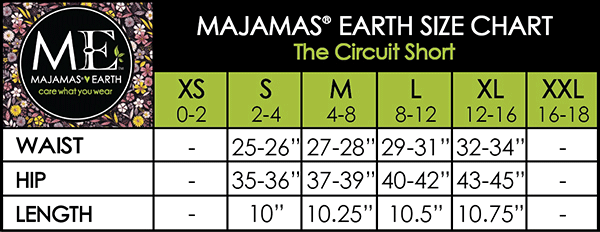MAJAMAS EARTH SIZE CHART ESSENTIALS WOMEN BOTTOMS The Circuit Short