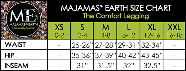 MAJAMAS EARTH SIZE CHART ESSENTIALS WOMEN BOTTOMS The Comfort Legging