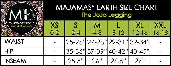 MAJAMAS EARTH SIZE CHART ESSENTIALS WOMEN BOTTOMS The JoJo Legging