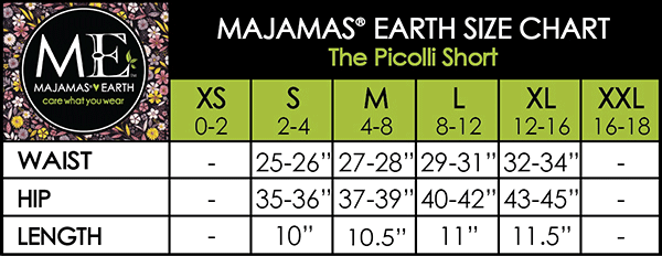 MAJAMAS EARTH SIZE CHART ESSENTIALS WOMEN BOTTOMS The Picolli Short