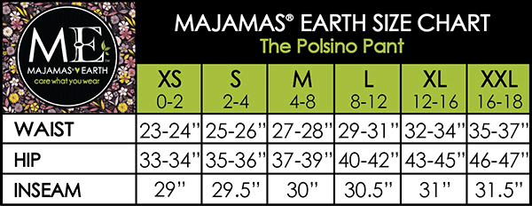 MAJAMAS EARTH SIZE CHART ESSENTIALS WOMEN BOTTOMS The Polsino Pant