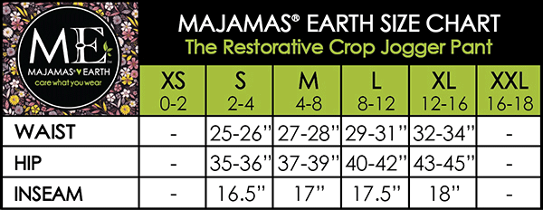 MAJAMAS EARTH SIZE CHART ESSENTIALS WOMEN BOTTOMS The Restorative Pant