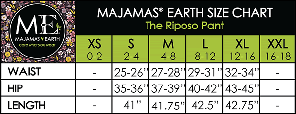 MAJAMAS EARTH Size Chart The Riposo Pant