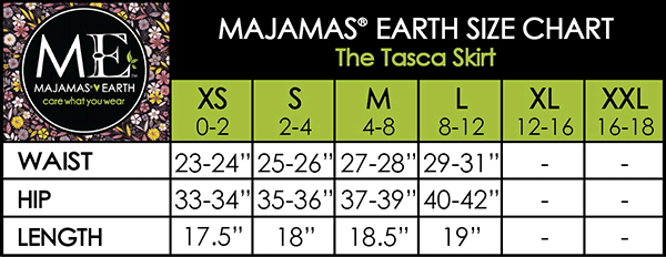 MAJAMAS EARTH SIZE CHART ESSENTIALS WOMEN SKIRTS The Tasca Skirt