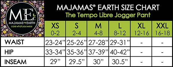 MAJAMAS EARTH SIZE CHART ESSENTIALS WOMEN BOTTOMS The Tempo Libre Jogger Pant