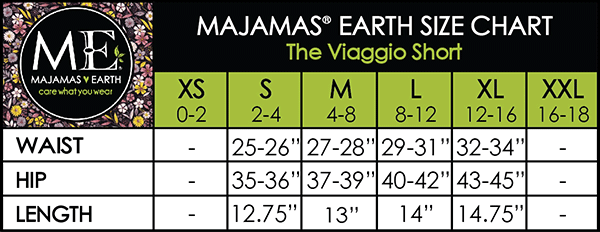 MAJAMAS EARTH Size Chart The Viaggio Short