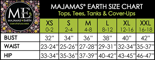 MAJAMAS EARTH SIZE CHART MATERNITY/NURSING WOMEN Tops, Tees, Tanks & Cover-Ups