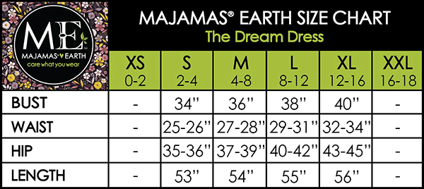 MAJAMAS EARTH Size Chart The Dream Dress