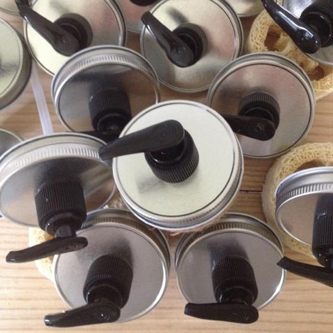 Wholesale Pack :  Silver & Black Mason Jar Soap Dispenser Pump Lids