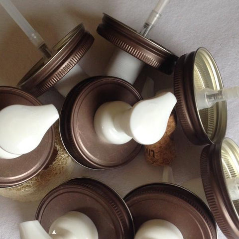 Wholesale Pack :  Foamers :  Weathered Bronze & White Mason Jar Foaming Soap Dispenser Pump Lids