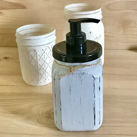 Gray French Square Hand Painted Soap Dispenser