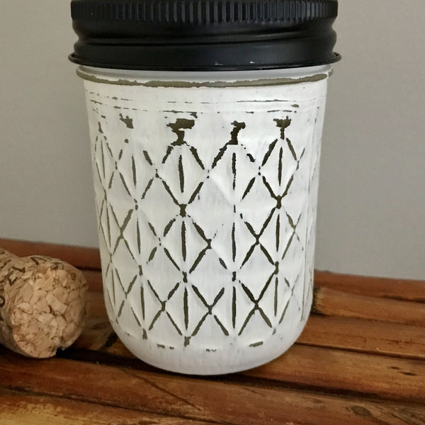 Ivory Half Pint Quilted Mason Jar Soap Dispenser - Your Choice of Lid Color